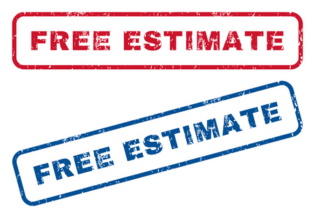 estimate: Free Estimate text rubber seal stamp watermarks. Vector style is blue and red ink tag inside rounded rectangular shape. Grunge design and dust texture. Blue and red stickers. Illustration
