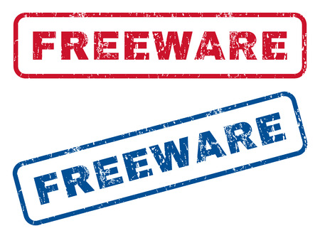 freeware: Freeware text rubber seal stamp watermarks. Vector style is blue and red ink caption inside rounded rectangular shape. Grunge design and scratched texture. Blue and red emblems. Illustration