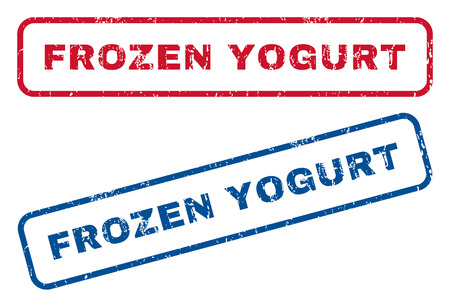 frozen yogurt: Frozen Yogurt text rubber seal stamp watermarks. Vector style is blue and red ink tag inside rounded rectangular shape. Grunge design and dust texture. Blue and red stickers.
