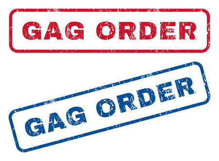 suppression: Gag Order text rubber seal stamp watermarks. Vector style is blue and red ink caption inside rounded rectangular shape. Grunge design and dirty texture. Blue and red signs.