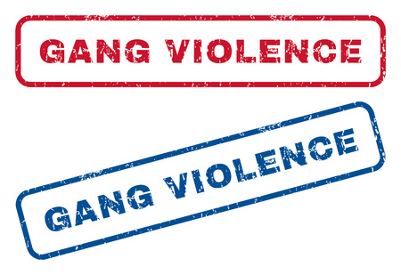 de maras: Gang Violence text rubber seal stamp watermarks. Vector style is blue and red ink caption inside rounded rectangular shape. Grunge design and dirty texture. Blue and red stickers.