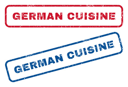 german food: German Cuisine text rubber seal stamp watermarks. Vector style is blue and red ink caption inside rounded rectangular shape. Grunge design and unclean texture. Blue and red stickers.