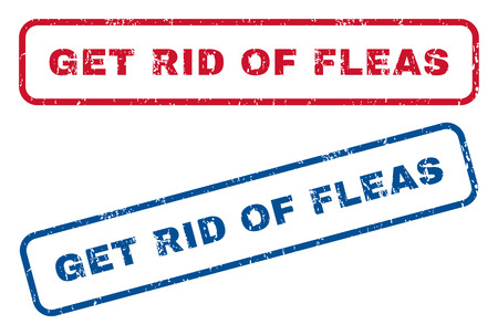 rid: Get Rid Of Fleas text rubber seal stamp watermarks. Vector style is blue and red ink caption inside rounded rectangular shape. Grunge design and dirty texture. Blue and red stickers. Illustration