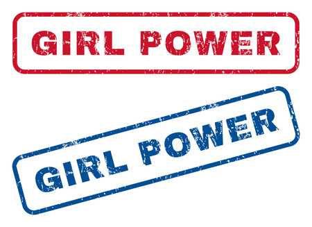 dirty girl: Girl Power text rubber seal stamp watermarks. Vector style is blue and red ink tag inside rounded rectangular banner. Grunge design and scratched texture. Blue and red emblems. Illustration