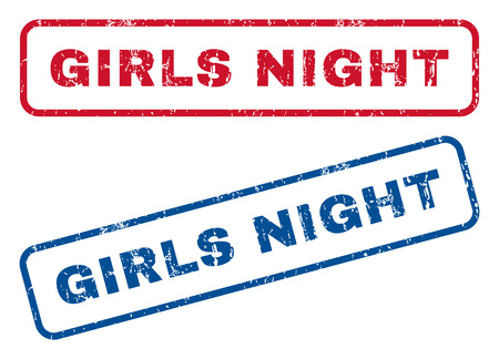 girls night: Girls Night text rubber seal stamp watermarks. Vector style is blue and red ink tag inside rounded rectangular shape. Grunge design and scratched texture. Blue and red signs.