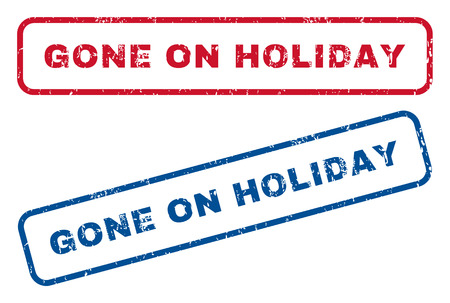 gone: Gone On Holiday text rubber seal stamp watermarks. Vector style is blue and red ink tag inside rounded rectangular shape. Grunge design and dirty texture. Blue and red signs. Illustration