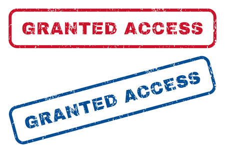 access granted: Granted Access text rubber seal stamp watermarks. Vector style is blue and red ink tag inside rounded rectangular shape. Grunge design and unclean texture. Blue and red signs.