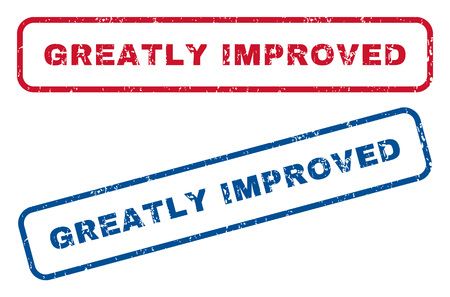 greatly: Greatly Improved text rubber seal stamp watermarks. Vector style is blue and red ink caption inside rounded rectangular shape. Grunge design and unclean texture. Blue and red emblems.
