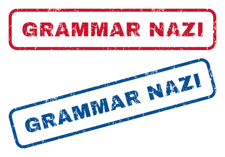 grammatical: Grammar Nazi text rubber seal stamp watermarks. Vector style is blue and red ink caption inside rounded rectangular shape. Grunge design and dirty texture. Blue and red signs.