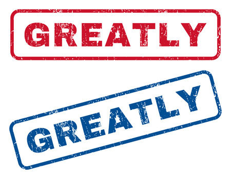 greatly: Greatly text rubber seal stamp watermarks. Vector style is blue and red ink caption inside rounded rectangular banner. Grunge design and dust texture. Blue and red signs. Illustration