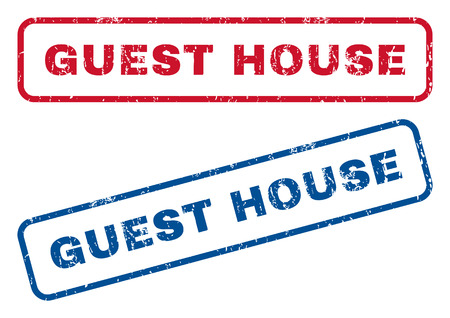 Guest House text rubber seal stamp watermarks. Vector style is blue and red ink caption inside rounded rectangular banner. Grunge design and unclean texture. Blue and red emblems.