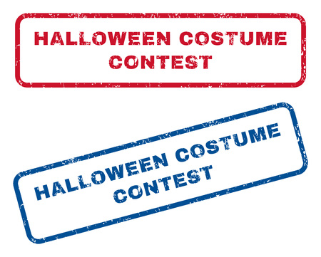 Halloween Costume Contest text rubber seal stamp watermarks. Vector style is blue and red ink tag inside rounded rectangular shape. Grunge design and unclean texture. Blue and red stickers. Vector Illustration