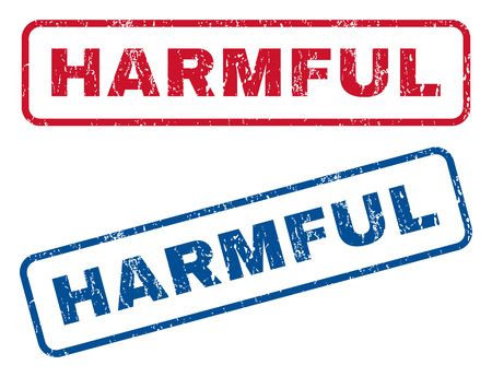 Harmful text rubber seal stamp watermarks. Vector style is blue and red ink caption inside rounded rectangular shape. Grunge design and dirty texture. Blue and red emblems. Illustration