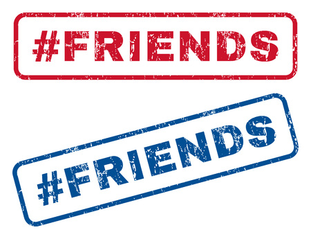 Hashtag Friends text rubber seal stamp watermarks. Vector style is blue and red ink tag inside rounded rectangular banner. Grunge design and unclean texture. Blue and red emblems.