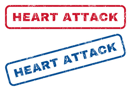 Heart Attack text rubber seal stamp watermarks. Vector style is blue and red ink tag inside rounded rectangular shape. Grunge design and dust texture. Blue and red emblems. Illustration