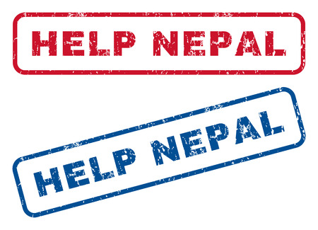 disaster relief: Help Nepal text rubber seal stamp watermarks. Vector style is blue and red ink tag inside rounded rectangular shape. Grunge design and unclean texture. Blue and red signs. Illustration