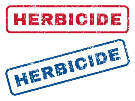 herbicide: Herbicide text rubber seal stamp watermarks. Vector style is blue and red ink tag inside rounded rectangular shape. Grunge design and scratched texture. Blue and red emblems. Illustration