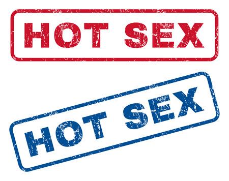 Hot Sex texte caoutchouc sceller des filigranes de timbre. Le style de vecteur est la légende d'encre bleue et rouge à l'intérieur de la forme rectangulaire arrondie. Conception grunge et texture de la poussière. Signes bleus et rouges.