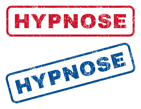 hypnose: Hypnose text rubber seal stamp watermarks. Vector style is blue and red ink tag inside rounded rectangular shape. Grunge design and dust texture. Blue and red emblems.