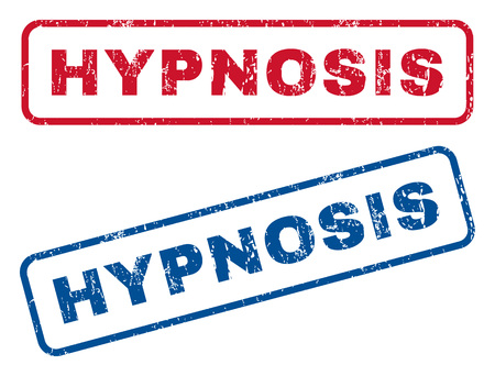 hypnose: Hypnosis text rubber seal stamp watermarks. Vector style is blue and red ink caption inside rounded rectangular shape. Grunge design and scratched texture. Blue and red signs.