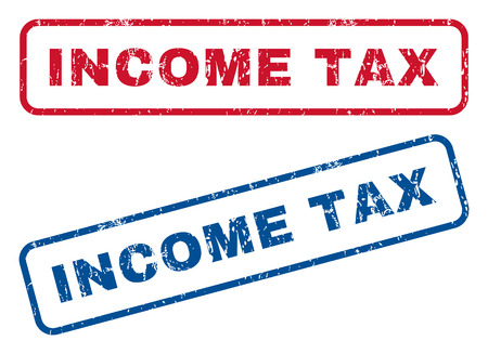 income tax: Income Tax text rubber seal stamp watermarks. Vector style is blue and red ink caption inside rounded rectangular shape. Grunge design and dust texture. Blue and red signs.