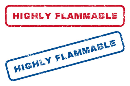highly flammable: Highly Flammable text rubber seal stamp watermarks. Vector style is blue and red ink tag inside rounded rectangular banner. Grunge design and dirty texture. Blue and red emblems.