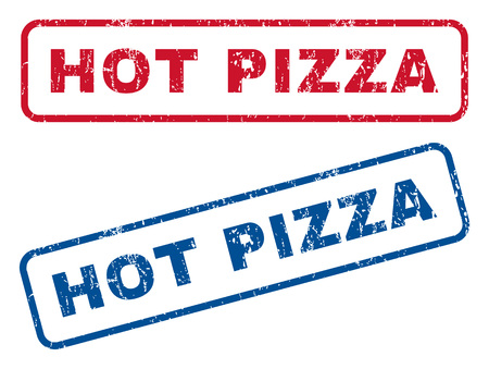 woodfired: Hot Pizza text rubber seal stamp watermarks. Vector style is blue and red ink tag inside rounded rectangular shape. Grunge design and scratched texture. Blue and red stickers.