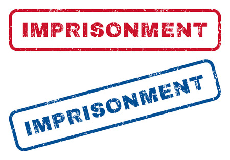 imprisonment: Imprisonment text rubber seal stamp watermarks. Vector style is blue and red ink caption inside rounded rectangular shape. Grunge design and unclean texture. Blue and red stickers.