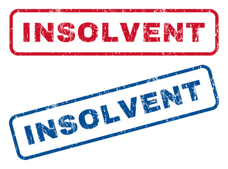 insolvent: Insolvent text rubber seal stamp watermarks. Vector style is blue and red ink tag inside rounded rectangular banner. Grunge design and dust texture. Blue and red stickers.