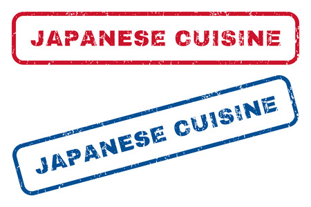 Japanese Cuisine text rubber seal stamp watermarks. Vector style is blue and red ink caption inside rounded rectangular banner. Grunge design and scratched texture. Blue and red signs.