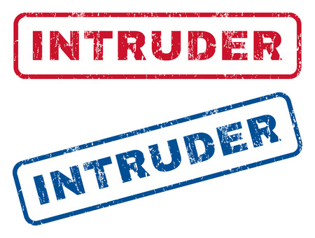 intrude: Intruder text rubber seal stamp watermarks. Vector style is blue and red ink tag inside rounded rectangular shape. Grunge design and dirty texture. Blue and red stickers. Illustration