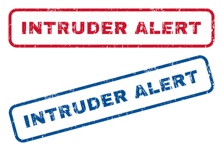 trespass: Intruder Alert text rubber seal stamp watermarks. Vector style is blue and red ink caption inside rounded rectangular shape. Grunge design and dust texture. Blue and red emblems.