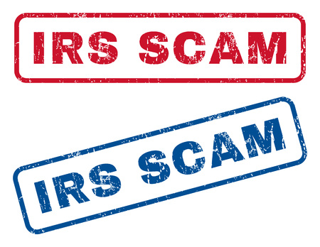irs: Irs Scam text rubber seal stamp watermarks. Vector style is blue and red ink caption inside rounded rectangular shape. Grunge design and scratched texture. Blue and red stickers.