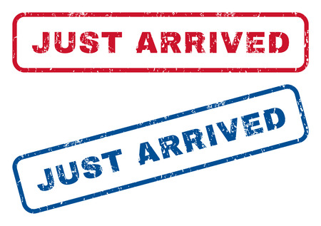 arrived: Just Arrived text rubber seal stamp watermarks. Vector style is blue and red ink caption inside rounded rectangular banner. Grunge design and scratched texture. Blue and red stickers.