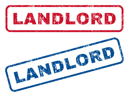 landlord: Landlord text rubber seal stamp watermarks. Vector style is blue and red ink tag inside rounded rectangular banner. Grunge design and dirty texture. Blue and red emblems.