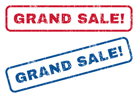 grand sale sticker: Grand Sale! text rubber seal stamp watermarks. Vector style is blue and red ink caption inside rounded rectangular banner. Grunge design and dirty texture. Blue and red stickers.