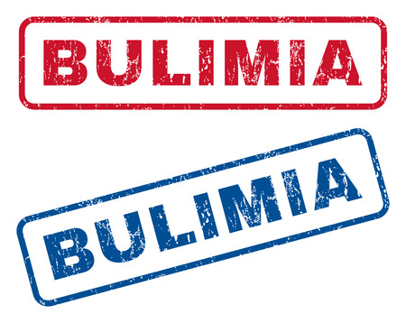 bulimia: Bulimia text rubber seal stamp watermarks. Vector style is blue and red ink tag inside rounded rectangular banner. Grunge design and unclean texture. Blue and red signs.