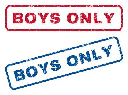 cadet blue: Boys Only text rubber seal stamp watermarks. Vector style is blue and red ink caption inside rounded rectangular shape. Grunge design and dirty texture. Blue and red signs.