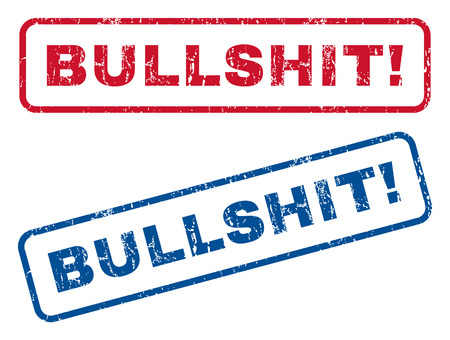 Bullshit! text rubber seal stamp watermarks. Vector style is blue and red ink caption inside rounded rectangular banner. Grunge design and unclean texture. Blue and red signs.