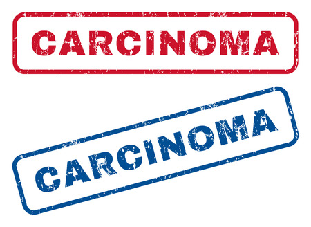carcinoma: Carcinoma text rubber seal stamp watermarks. Vector style is blue and red ink tag inside rounded rectangular shape. Grunge design and dirty texture. Blue and red stickers.