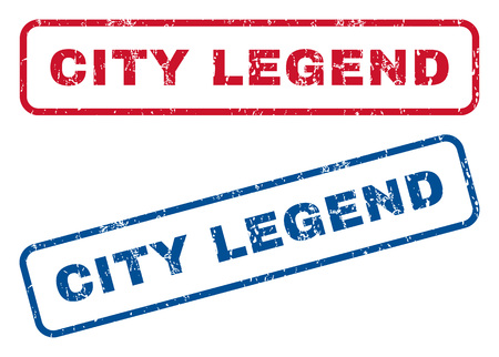 legend: City Legend text rubber seal stamp watermarks. Vector style is blue and red ink tag inside rounded rectangular shape. Grunge design and dust texture. Blue and red signs.