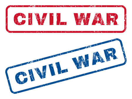 civil war: Civil War text rubber seal stamp watermarks. Vector style is blue and red ink caption inside rounded rectangular shape. Grunge design and dust texture. Blue and red emblems. Illustration