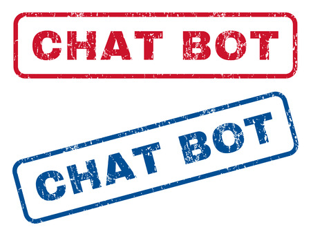 bot: Chat Bot text rubber seal stamp watermarks. Vector style is blue and red ink caption inside rounded rectangular shape. Grunge design and scratched texture. Blue and red stickers.