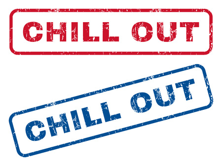 chill out: Chill Out text rubber seal stamp watermarks. Vector style is blue and red ink tag inside rounded rectangular banner. Grunge design and dust texture. Blue and red stickers.