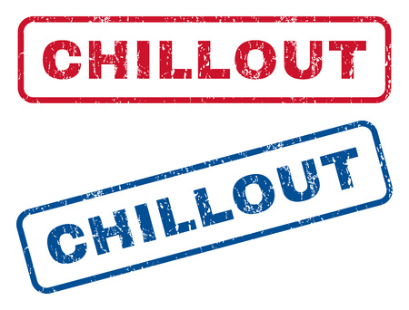 chillout: Chillout text rubber seal stamp watermarks. Vector style is blue and red ink tag inside rounded rectangular banner. Grunge design and scratched texture. Blue and red signs.