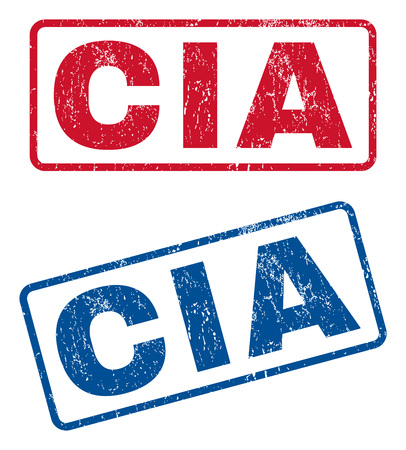 investigators: CIA text rubber seal stamp watermarks. Vector style is blue and red ink caption inside rounded rectangular banner. Grunge design and scratched texture. Blue and red emblems.