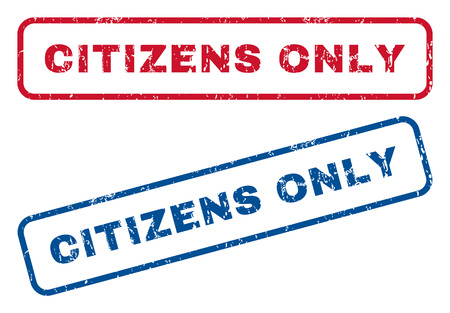 Citizens Only text rubber seal stamp watermarks. Vector style is blue and red ink tag inside rounded rectangular banner. Grunge design and dust texture. Blue and red stickers.