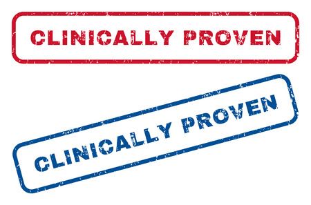 clinically: Clinically Proven text rubber seal stamp watermarks. Vector style is blue and red ink caption inside rounded rectangular banner. Grunge design and scratched texture. Blue and red emblems. Illustration