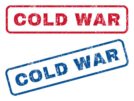 cold war: Cold War text rubber seal stamp watermarks. Vector style is blue and red ink caption inside rounded rectangular banner. Grunge design and unclean texture. Blue and red stickers. Illustration