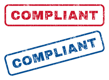 compliant: Compliant text rubber seal stamp watermarks. Vector style is blue and red ink caption inside rounded rectangular shape. Grunge design and unclean texture. Blue and red stickers.